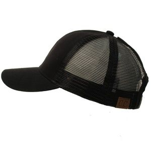 cc beanie Accessories - BLACK Messy High Bun Baseball pony- Cap